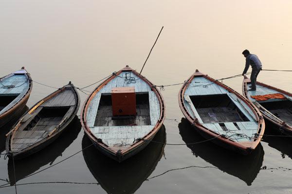 Morgenstimmung am Ganges, Varanasi, Uttar Pradesh