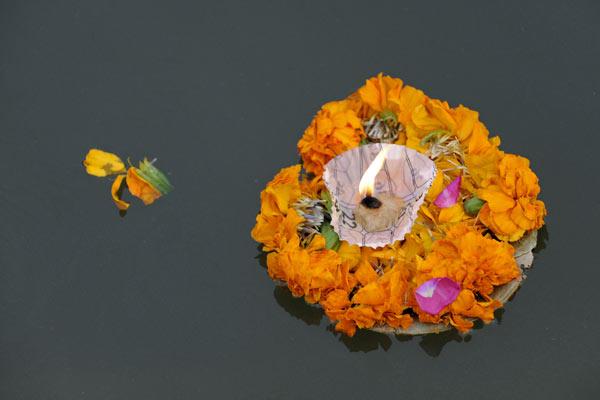 Opfergabe treibt auf dem Ganges, Varanasi, Uttar Pradesh